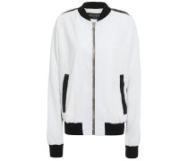 Striped Sequined Stretch-mesh Bomber Jacket