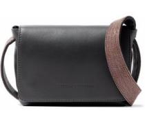Bead-embellished leather shoulder bag