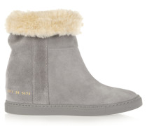Faux Shearling-lined Suede Wedge Ankle Boots Grau
