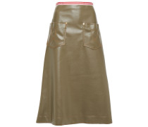 Flared Faux Leather Midi Skirt
