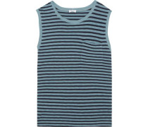 Striped stretch-jersey top