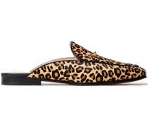 Linnie Leopard-print Calf Hair Slippers