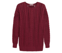 Cable-knit Cotton Sweater Burgunder