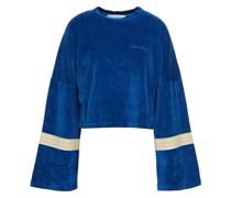 Gestreiftes Sweatshirt aus Baumwoll-chenille mit Stickereien