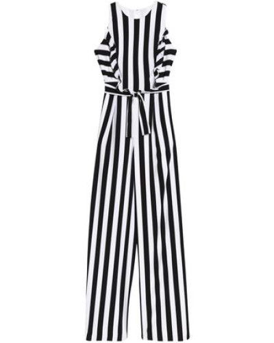 Ruffle-trimmed Striped Crepe Jumpsuit White