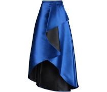 Draped Wrap-effect Satin-twill Maxi Skirt Königsblau