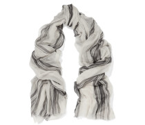 Two-tone Striped Cashmere Scarf Wollweiß