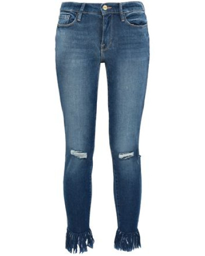 Lambeth Distressed Mid-rise Skinny Jeans Mid Denim  9