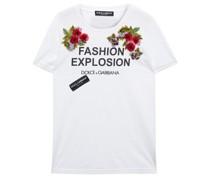 T-Shirt mit Floralen Applikationen