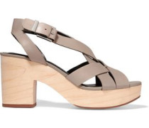 Jessica leather and wood sandals