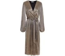 Wrap-effect Metallic Printed Jersey Midi Dress