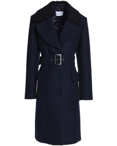 Faux Shearling-trimmed Wool-blend Felt Coat Midnight Blue