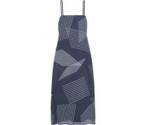 Embroidered printed crepe de chine midi dress