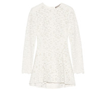 Cotton-blend Guipure Lace Peplum Top Weiß