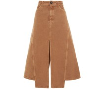 Split-front Cotton-canvas Midi Skirt