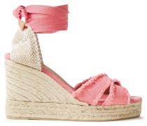 Frayed Cotton-canvas Wedge Espadrille Sandals