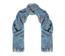 Frayed Floral-print Cashmere And Silk-blend Gauze Scarf