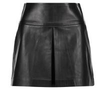 Pleated Leather Mini Skirt Schwarz