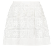 Bianca Silk-trimmed Crochet-knit Mini Skirt Elfenbein
