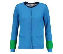 Paneled Wool Cardigan Blau