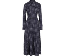 Descartes Belted Polka-dot Silk-twill Midi Shirt Dress