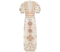 Embellished Embroidered Cotton And Linen-blend Twill Midi Dress