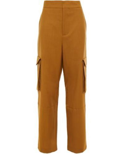 Woman Grain De Poudre Wool Wide-leg Pants Camel