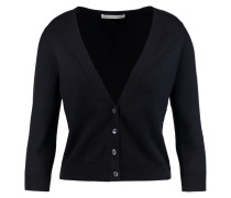 Cropped Stretch-cotton Cardigan Navy