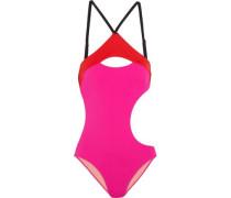Alenya cutout color-block swimsuit