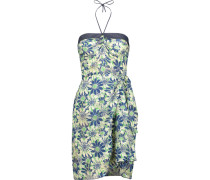 Daisies & Birds Wrap-effect Floral-print Fil Coupé Silk-chiffon Halterneck Mini Dress Dunkler Denim