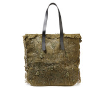 Barry Leather-trimmed Embroidered Jute And Canvas Tote