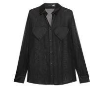 Satin-paneled chiffon blouse