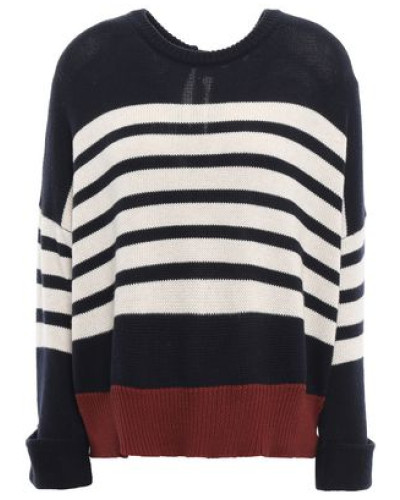 Tie-back Striped Cashmere Sweater Navy
