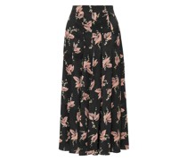 Pleated Floral-print Silk-satin Midi Skirt