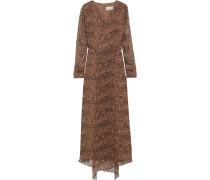 Asymmetric Leopard-print Georgette Maxi Dress