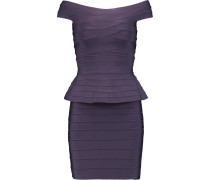 Off-the-shoulder Bandage Peplum Mini Dress Dunkellila