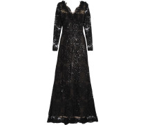 Sequin-embellished Embroidered Tulle Gown Schwarz