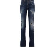 Billy Distressed Mid-rise Slim-leg Jeans Mittelblauer Denim