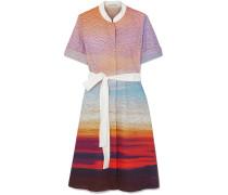 Cecilia Bedrucktes Kleid aus Stretch-baumwollpopeline mit Gürtel