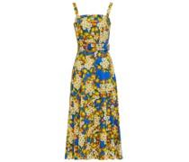 Camilla Midikleid aus Baumwollpopeline mit Floralem Print und Gürtel