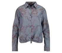 Printed Tie-front Cotton-chambray Shirt Mittelblauer Denim