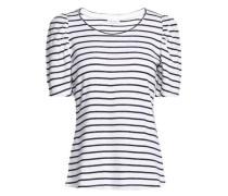 Striped linen-blend knit top