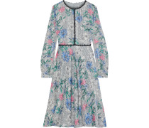 Crochet-trimmed Floral-print Jacquard Dress