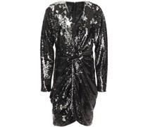 Twist-front Sequined Tulle Mini Dress
