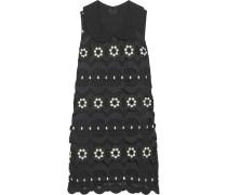 Daisy Swirl Guipure Lace Mini Dress Schwarz