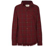 The Prep School Fringed Checked Cotton-blend Shirt Bordeaux