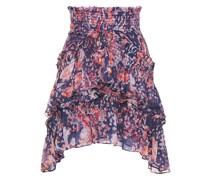 Pampala Tiered Metallic Printed Crepon Mini Skirt