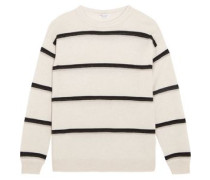 Embellished striped cashmere sweater
