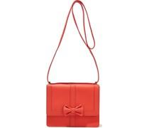 Bow-embellished Textured-leather Shoulder Bag