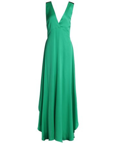 Embellished Two-tone Silk-blend Satin Gown Green